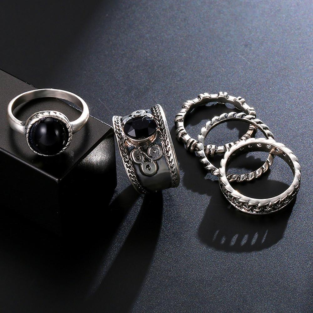 5Pcs/Set Arrow Moon Finger Knuckle Rings - AM Craftworks Studio