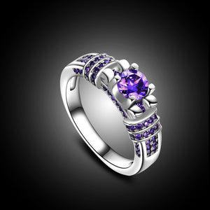 Silver Purple Wedding Ring - AM Craftworks Studio