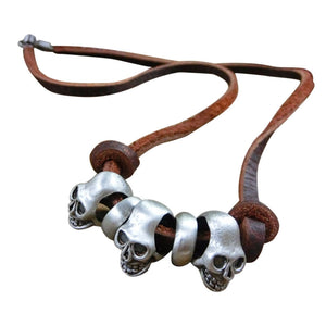 Skull Head Pendant Leather Necklace - AM Craftworks Studio