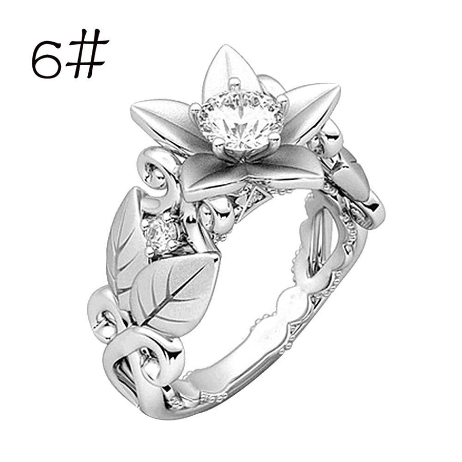 Rose Lucky Flower Leaf Diamond Ring - AM Craftworks Studio