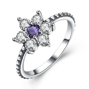 Flower Purple 925 Sterling Silver Ring - AM Craftworks Studio