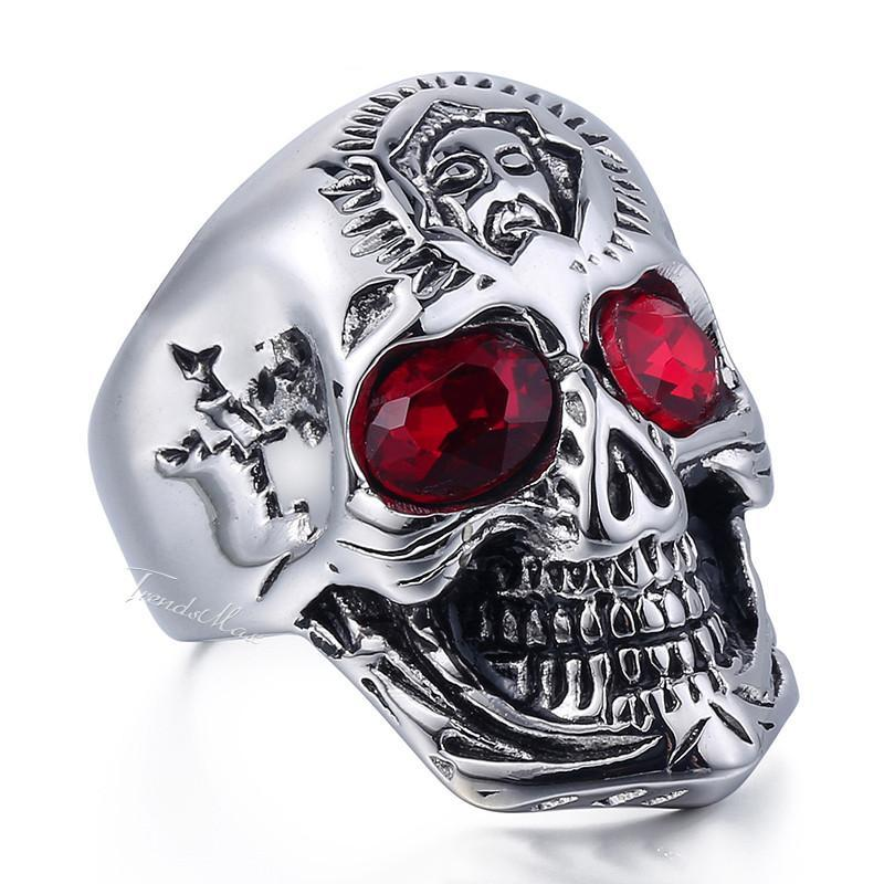 Skull Ring Red Crystal Eye - AM Craftworks Studio