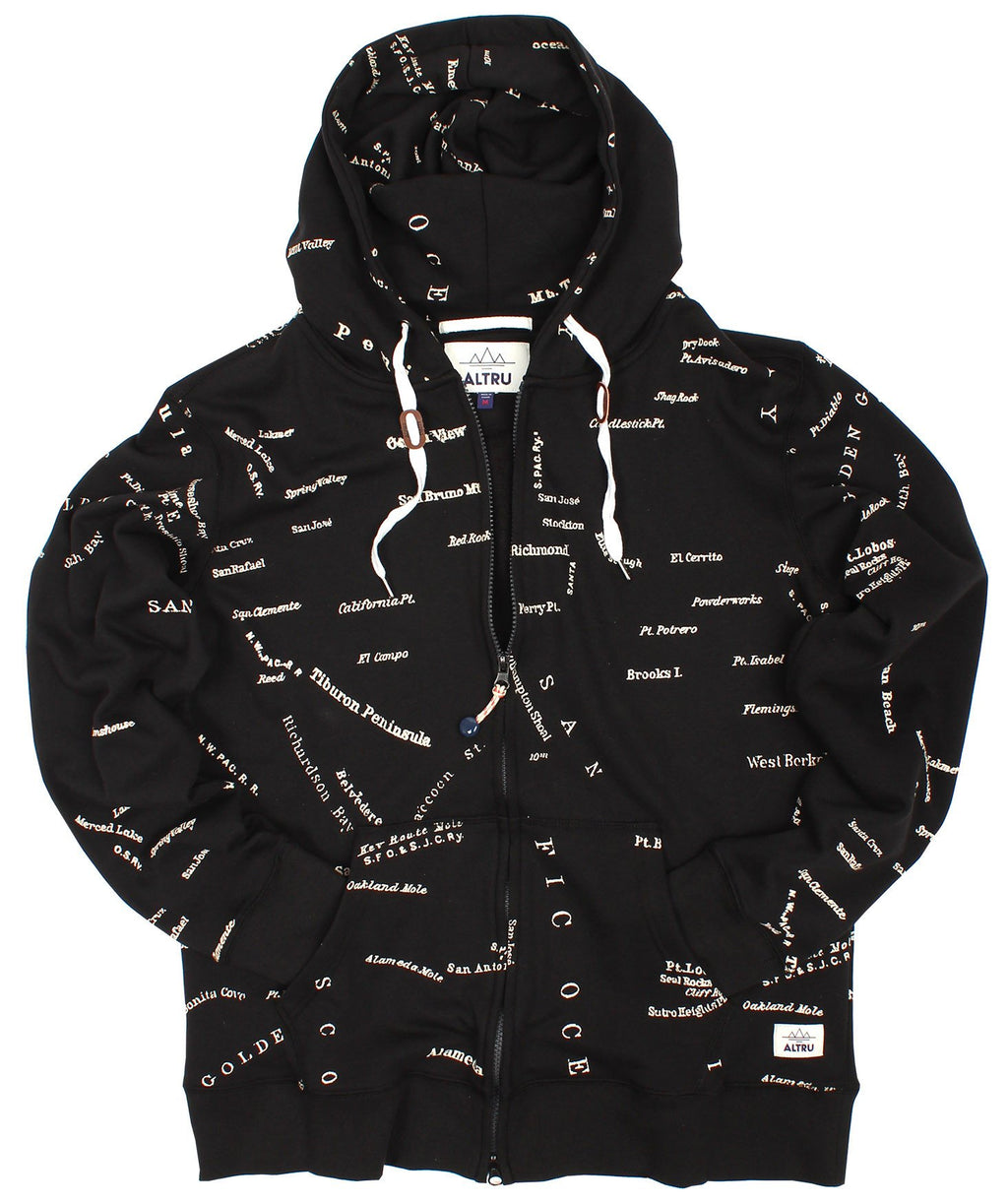 ALTRU APPAREL SAN FRANCISCO CITY MAP ZIP HOODIE. (LOOP TERRY) - EVERY*