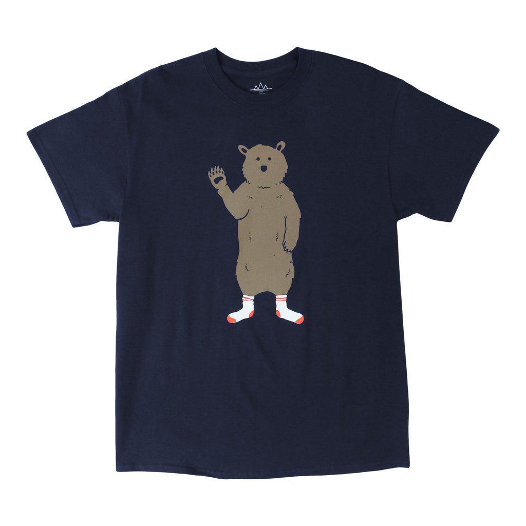 AWKWARD BEAR IN SOCKS, NAVY GRAPHIC TEE BY ALTRU APPAREL - EVERY*
