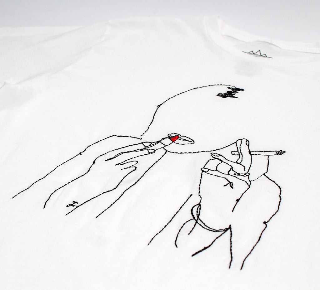 KATE EMBROIDERED WHITE T-SHIRT BY ALTRU APPAREL - EVERY*