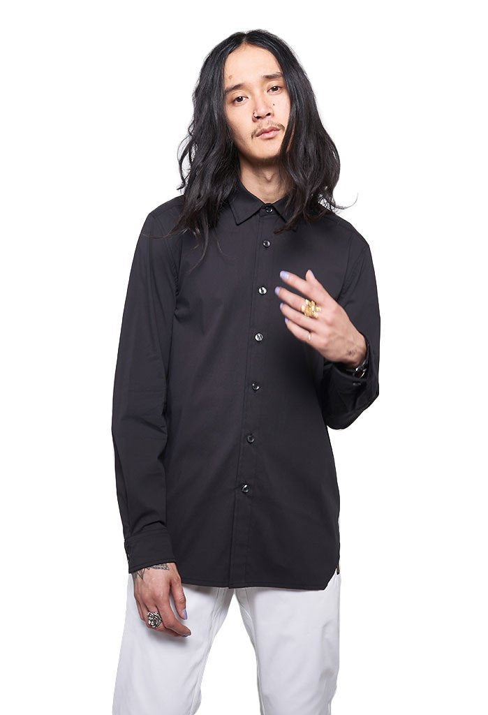 Archer The Fourth Perle Button Up Stretch Cotton Shirt In Black - EVERY*