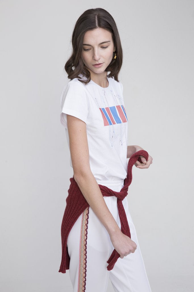 HACHI COTTON T-SHIRT WHITE WITH HONG KONG EMBROIDERY