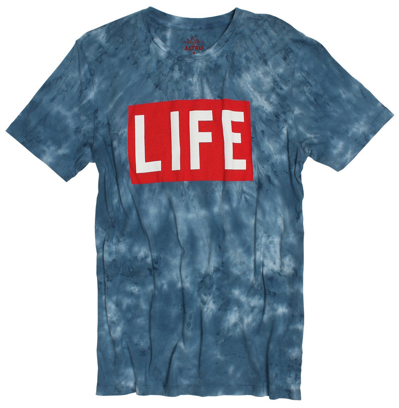 LIFE LOGO ON TIE DYE T-SHIRT MAGAZINE LOGO ON CLOUD WASH STYLE TEE - EVERY*