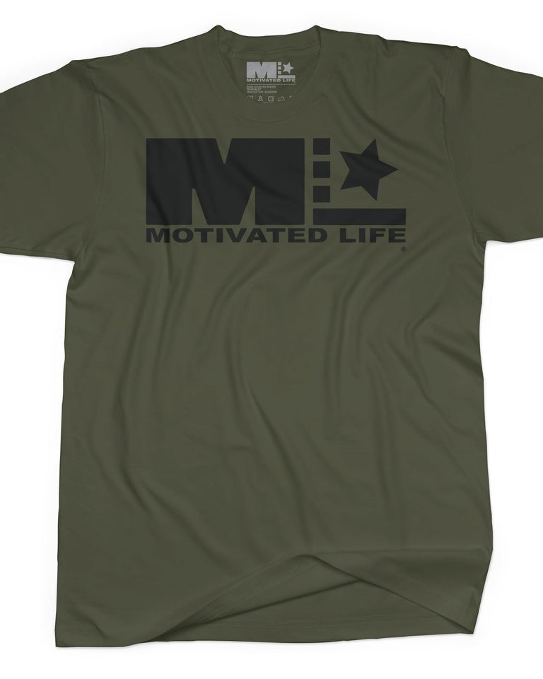 Men's Signature Tee - Black on Army Green