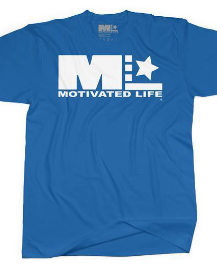 Men's Signature Logo Tee - White on Blue - EVERY*