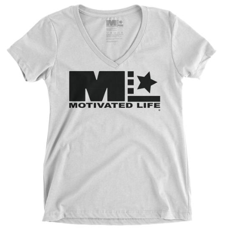 "MOTIVATED LIFE WOMEN""S V-NECK TEE - BLACK on WHITE"