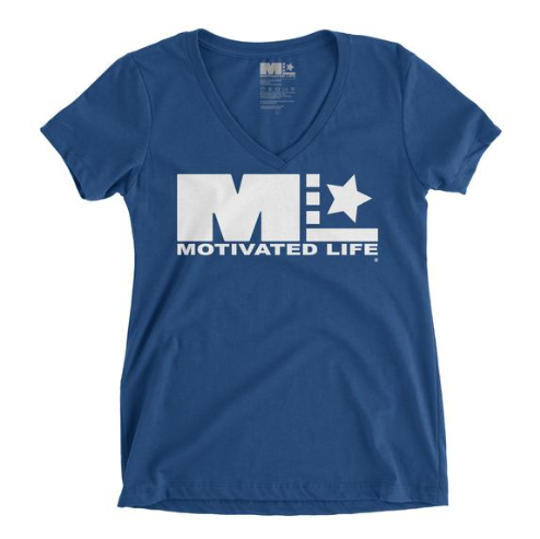 MOTIVATED LIFE WOMEN'S V-NECK TEE - BLUE