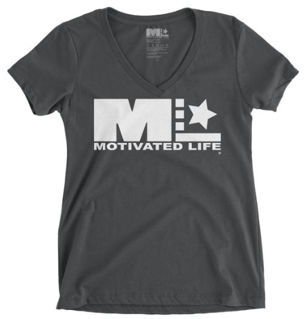 MOTIVATED LIFE WOMEN'S V-NECK TEE - CHARCOAL GREY