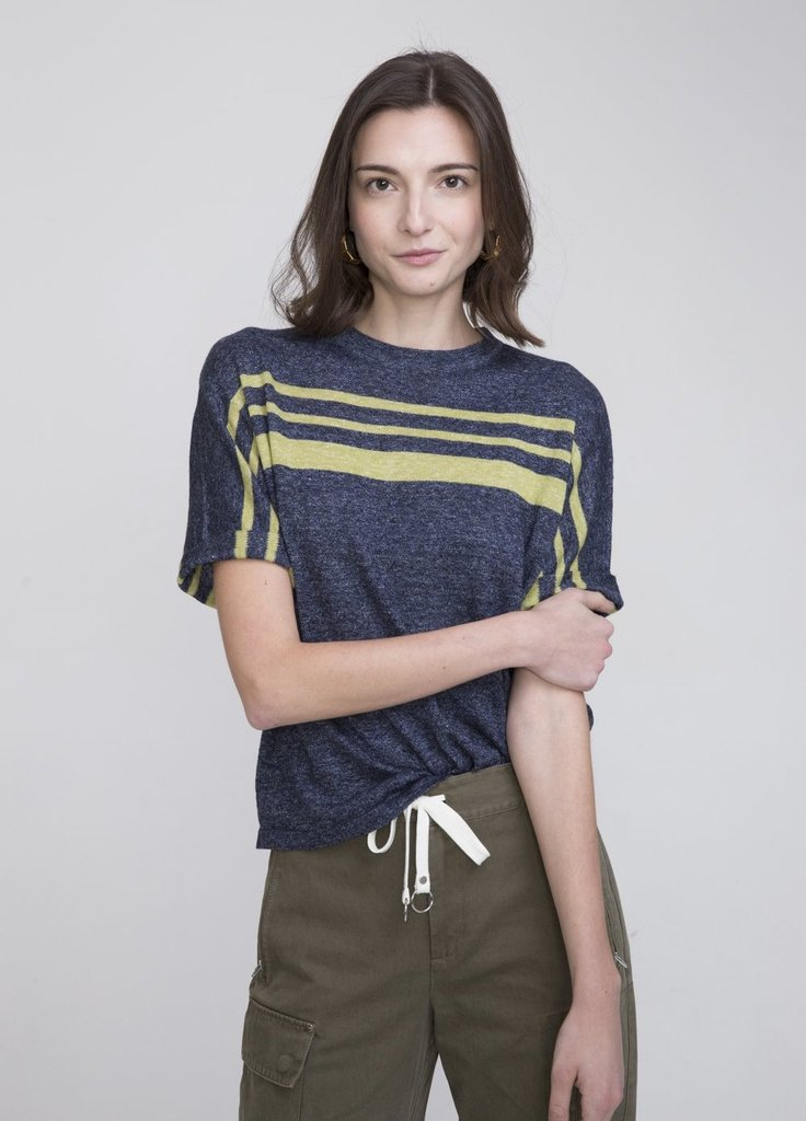 CHARLIZE LINEN SHORT SLEEVE SWEATER BLUE - EVERY*
