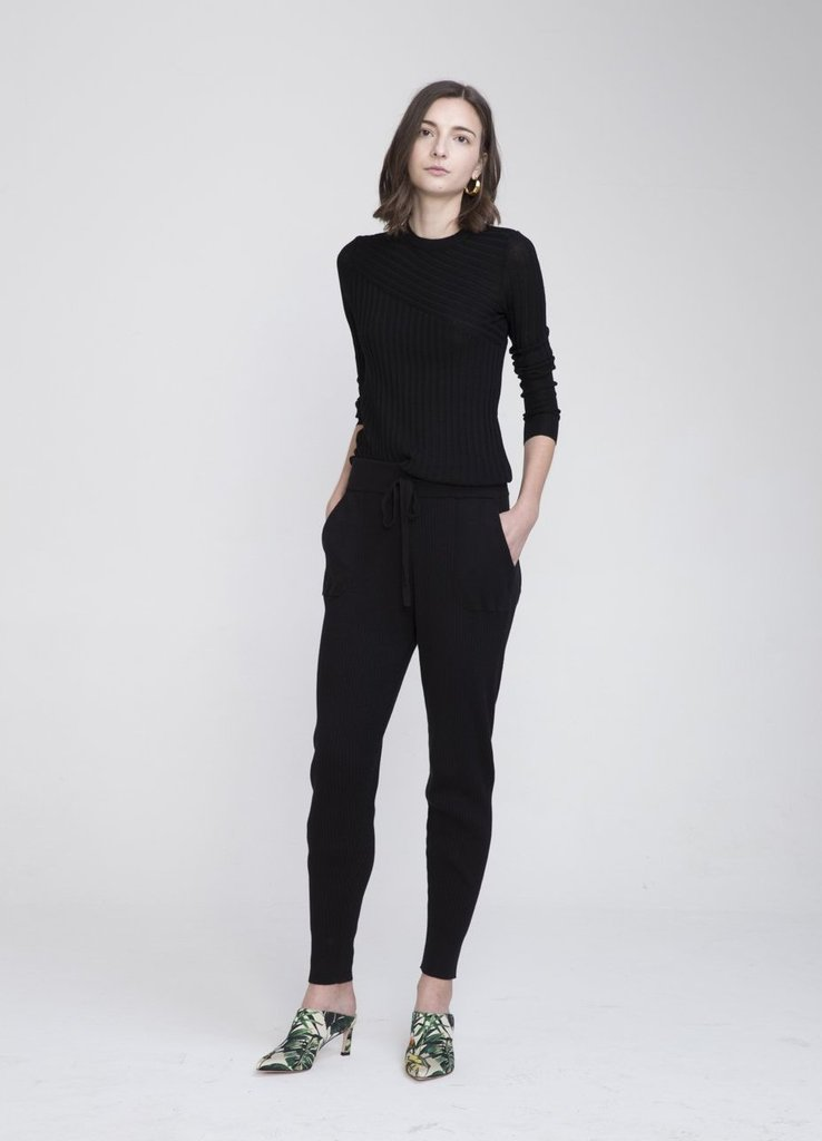 INEXCLSV SHISHI COTTON CASHMERE KNITTED PANTS - BLACK