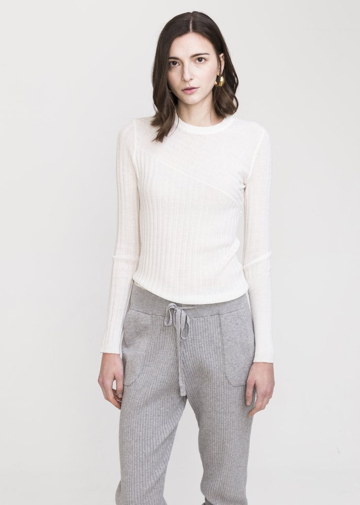 INEXCLSV SHISHI COTTON CASHMERE KNITTED PANTS - GREY
