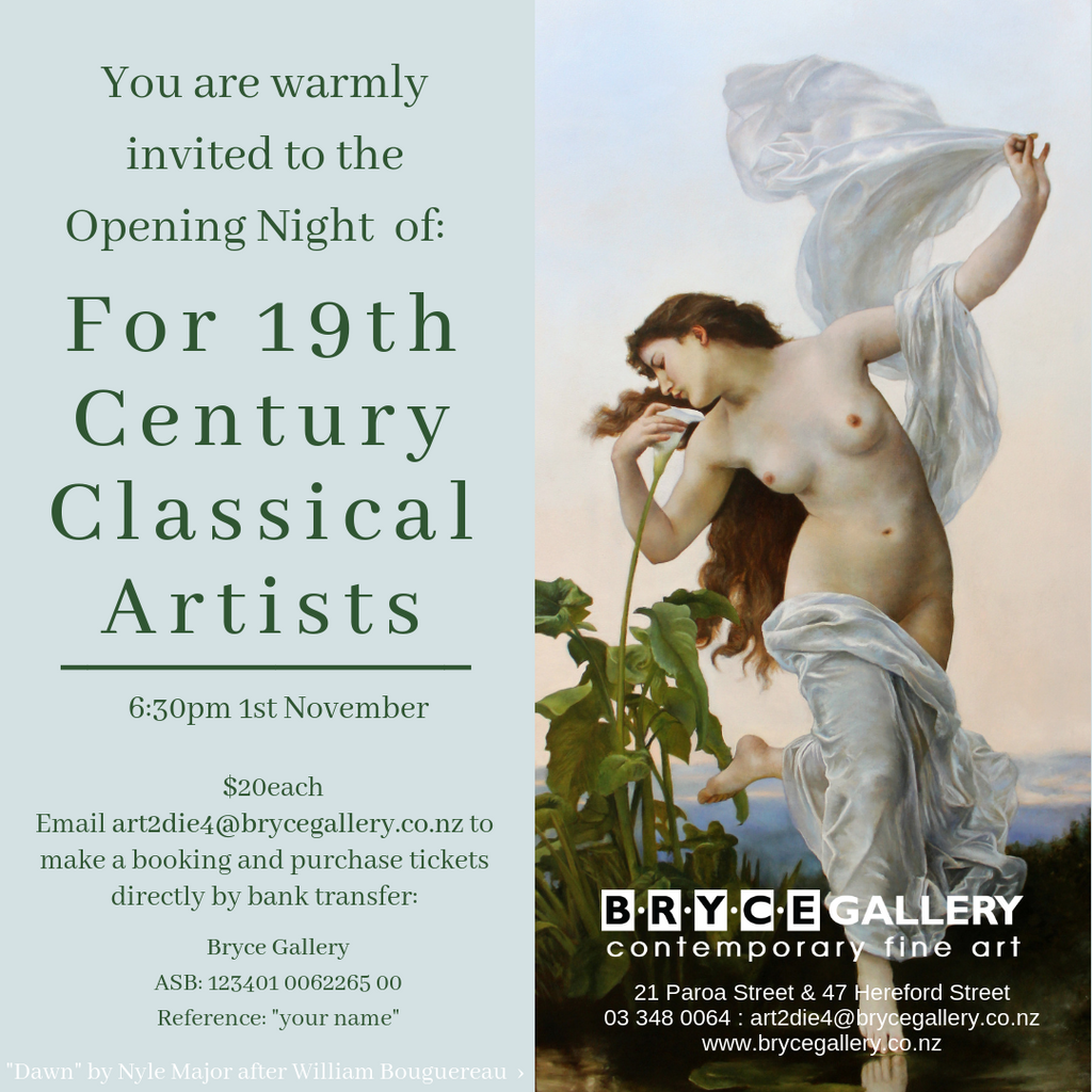 "You are warmly invited to the Opening Night of: ""For 19th Century Classical Artists"""