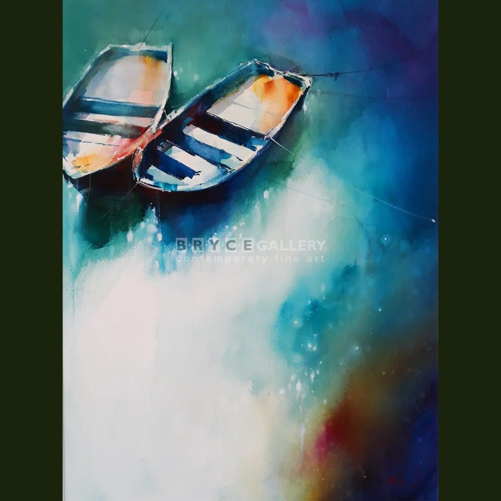 Be Together - Two Tethered Boats Paintings