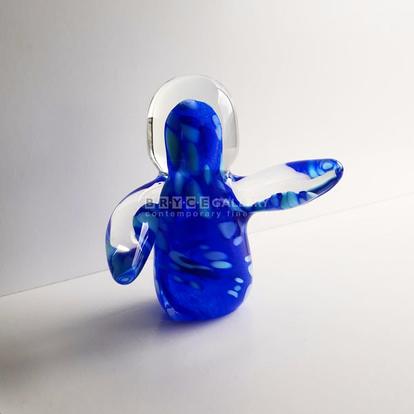 Small Figure Blue With Light Spots Glass Art