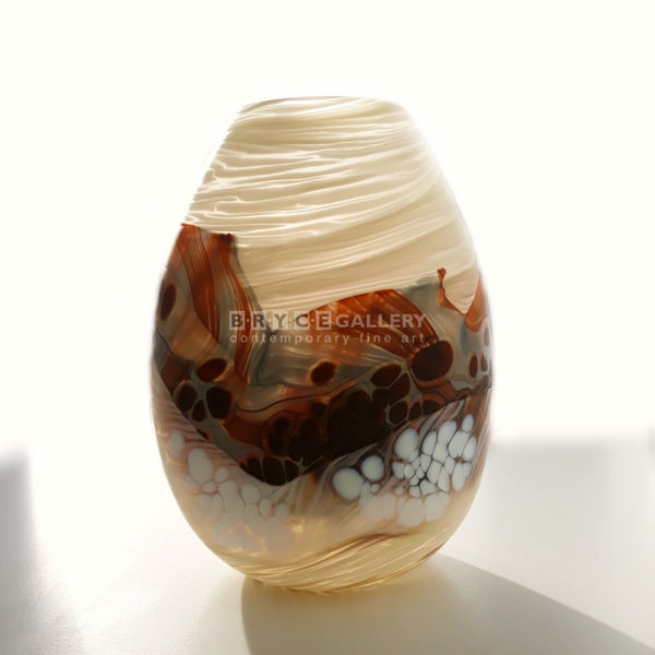 Volcanic Series Steamy Landscape Small Teardrop Vase Glass Art