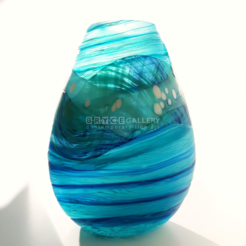 Volcano Series Huka Falls Medium Teardrop Vase Glass Art