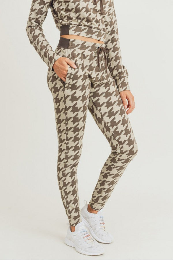 Houndstooth Skinny Cuffed Joggers