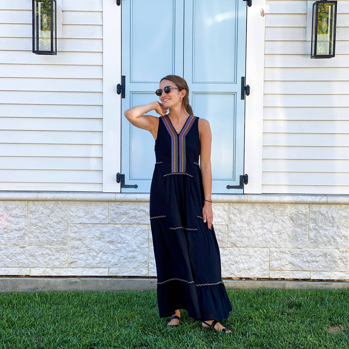 Amalfi Maxi Boho Dress - Black
