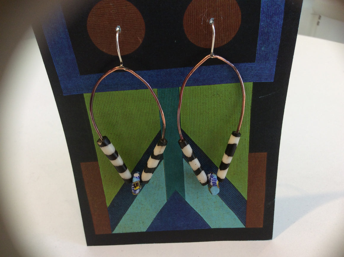 Handmade Earrings with mud cloth beads