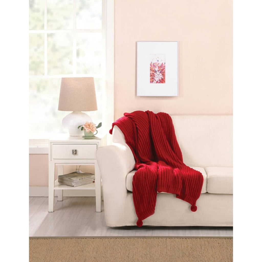 Cable Knit Throw Blanket With Poms, Red