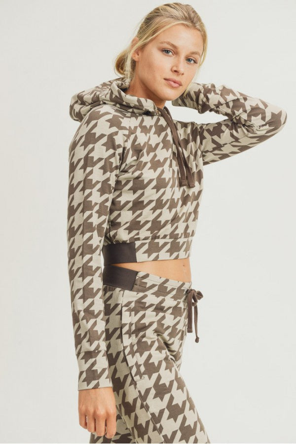 Houndstooth Cropped Hoodie Pullover