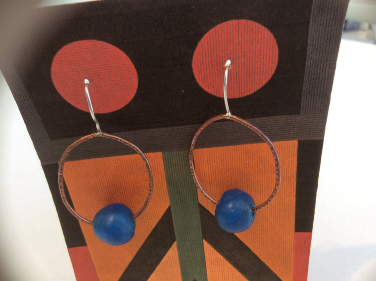 "Handmade ""Blue Ball"" Earrings"