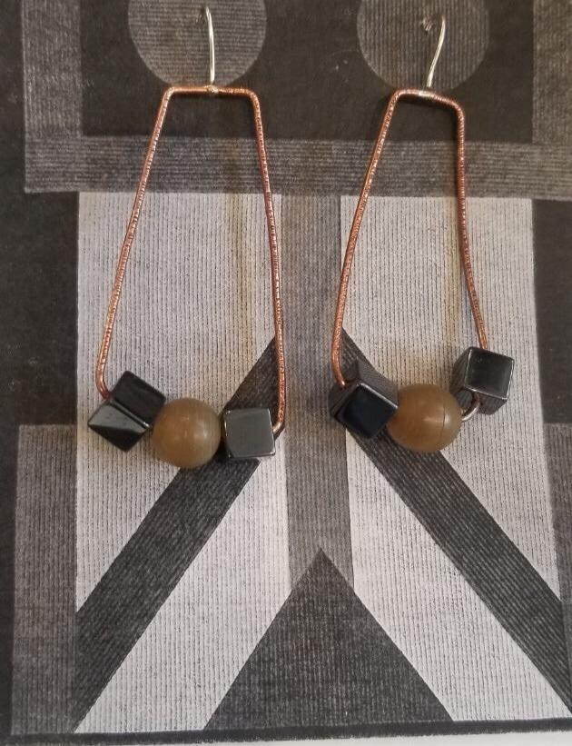 Beaded Copper Earrings