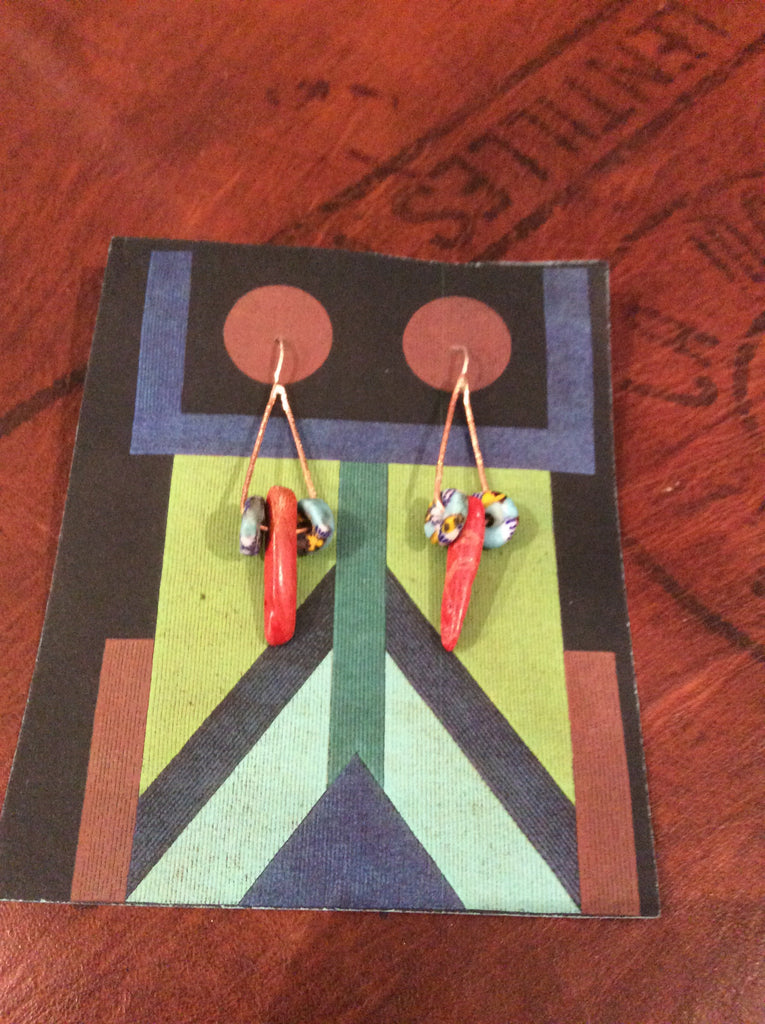 Handmade Copper Bead Earring