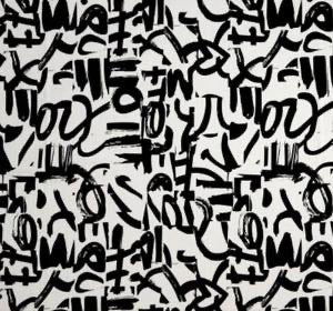 Mona Top Ivory Black Graffiti