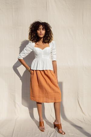 Beth Skirt - Terracotta Linen