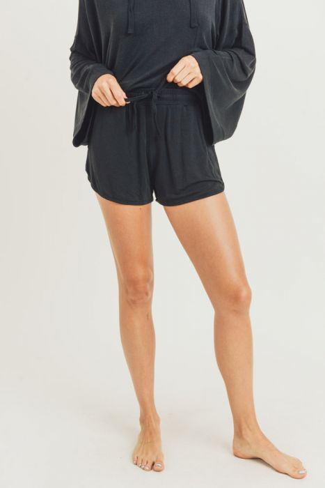 Black French Terry Lounge Shorts