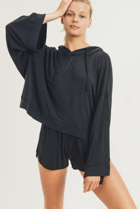 Washed Black French Terry Oversized Pullover hoodie