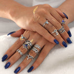 Bohemian Style Knuckle Ring Set 13 Pieces With Horse and Flowers