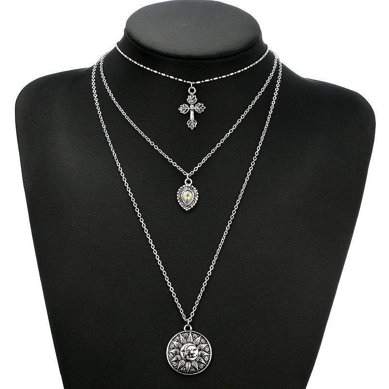 3 Tier Necklace with Cross, Droplet and Sun/Moon Pendants