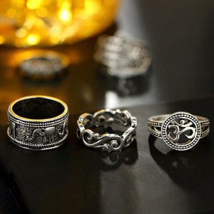 Vintage Knuckle Ring Set 9 Pieces Om Hamsa and Elephant