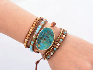 Unique Handmade Leather Wrap Bracelet With Natural Stones And Gilded Stone Charm