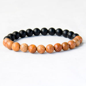Natural Wood and Black Matte Agate Bead Bracelet