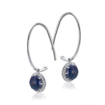 Sterling Silver Drop Earrings with Lapis Lazuli Setting and Cubic Zirconia Crystals