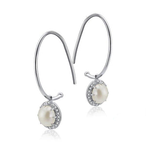 Sterling Silver Drop Earrings with Pearl Setting and Cubic Zirconia Crystals