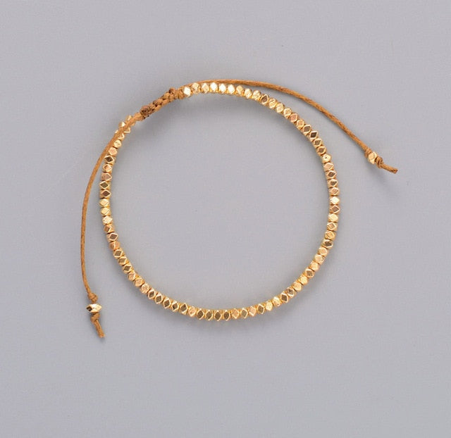 Simple Friendship Bracelets With Gold Beads