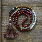 7 Chakra Mala Necklace Of Natural Stone With Tibetan Charm and Soft Tassel