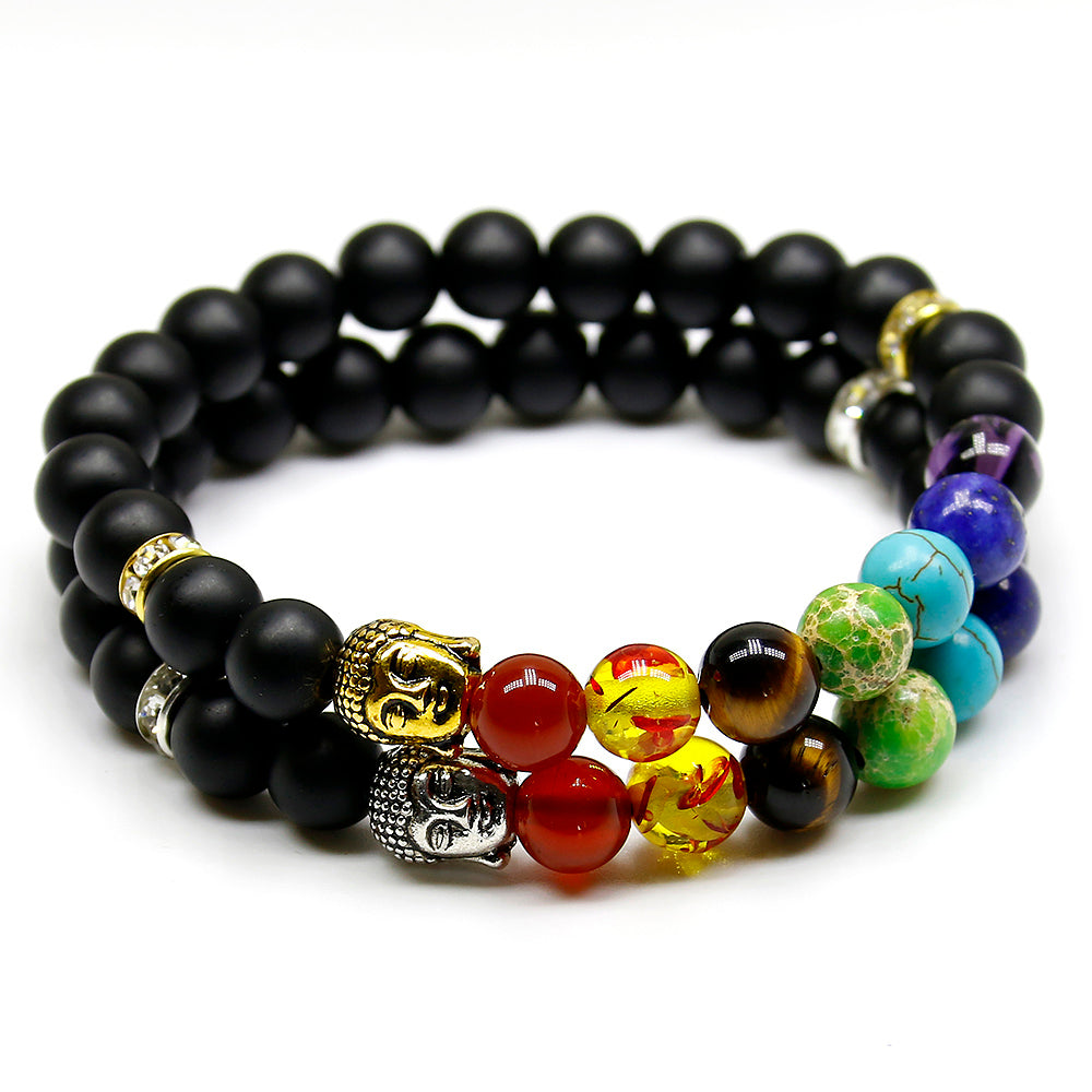 Natural Matte Black Agate Stone Bead Charm Bracelets with 7 Chakra Stones