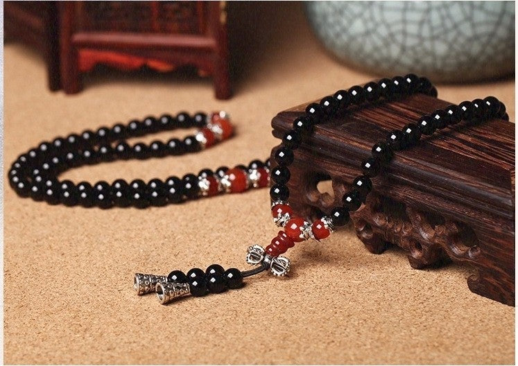 Black Onyx Bead Bracelet with Red Agate or Tiger's Eye Accent Beads