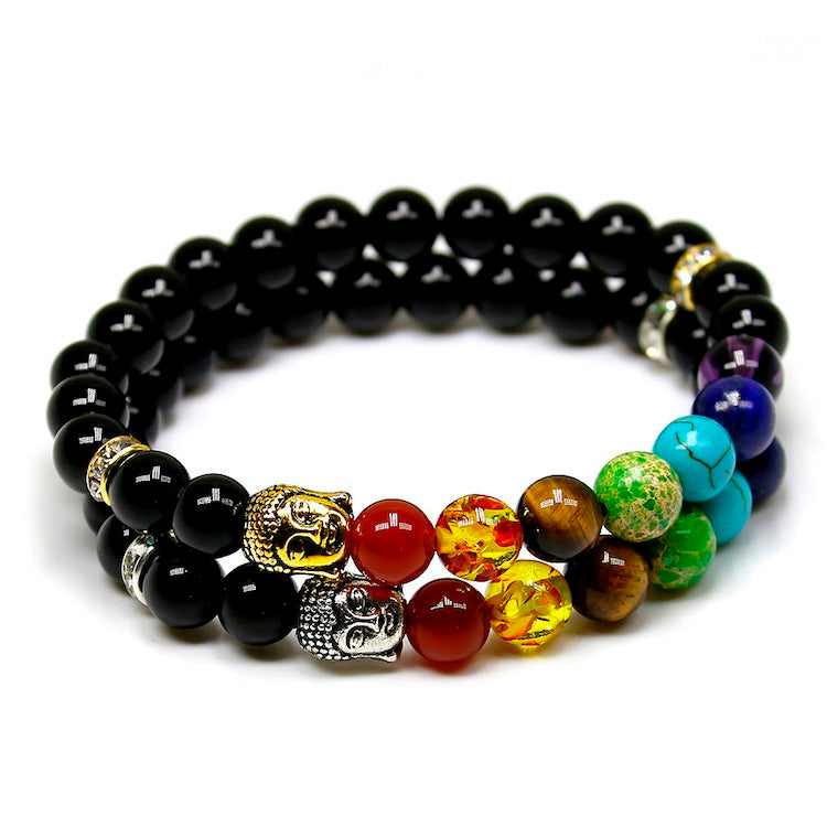 Natural Black Agate Stone Bead Charm Bracelets with 7 Chakra Stones