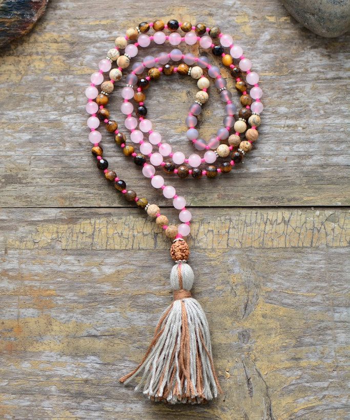 Tiger Eye and Frosted Onyx Mala With Rudraksha Guru Bead